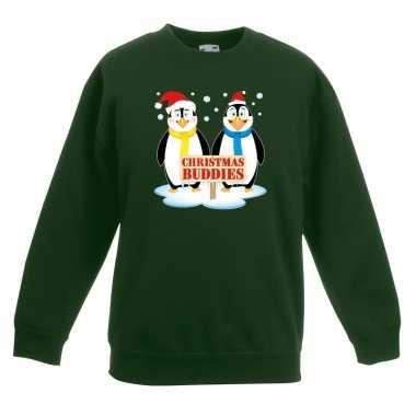 Goedkope kersttrui met 2 pinguin vriendjes groen voor jongens en meis