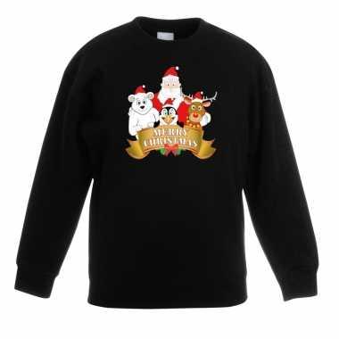 Goedkope kersttrui met de kerstman en zijn vriendjes zwart voor jonge