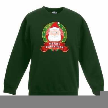 Goedkope kersttrui met de kerstman groen voor jongens en meisjes