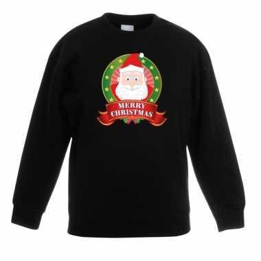 Goedkope kersttrui met de kerstman zwart voor jongens en meisjes