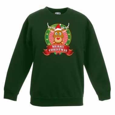 Goedkope kersttrui met rudolf het rendier groen voor jongens en meisj