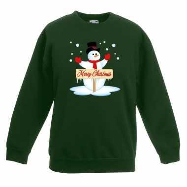 Goedkope kersttrui met sneeuwpop groen voor jongens en meisjes