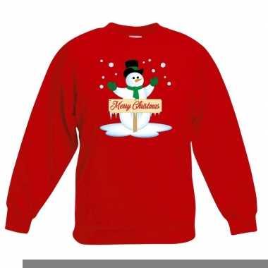 Goedkope kersttrui met sneeuwpop rood voor jongens en meisjes