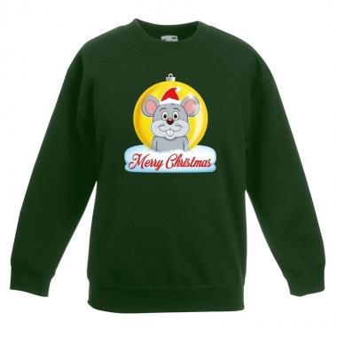 Goedkope kersttrui muis kerstbal groen voor jongens en meisjes