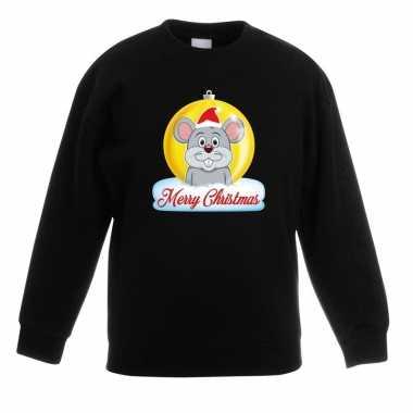 Goedkope kersttrui muis kerstbal zwart voor jongens en meisjes
