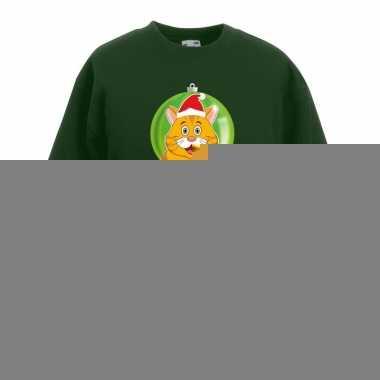 Goedkope kersttrui oranje kat / poes kerstbal groen voor jongens en m