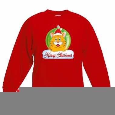 Goedkope kersttrui oranje kat / poes kerstbal rood voor jongens en me
