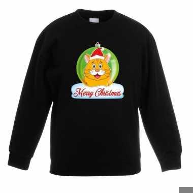 Goedkope kersttrui oranje kat / poes kerstbal zwart voor jongens en m