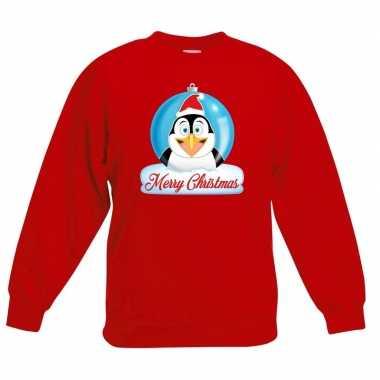 Goedkope kersttrui pinguin kerstbal rood voor jongens en meisjes