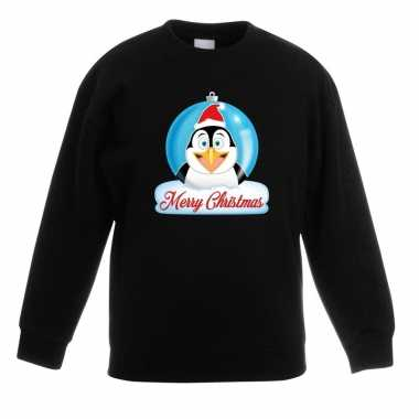 Goedkope kersttrui pinguin kerstbal zwart voor jongens en meisjes