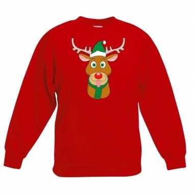 Goedkope kersttrui rendier rudolf met groene muts rood voor jongens e