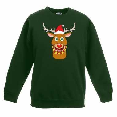 Goedkope kersttrui rendier rudolf met rode muts groen voor jongens en