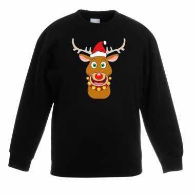Goedkope kersttrui rendier rudolf met rode muts zwart voor jongens en