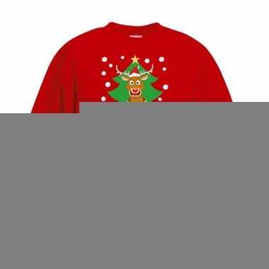 Goedkope kersttrui rudolf voor kerstboom rood voor jongens en meisjes