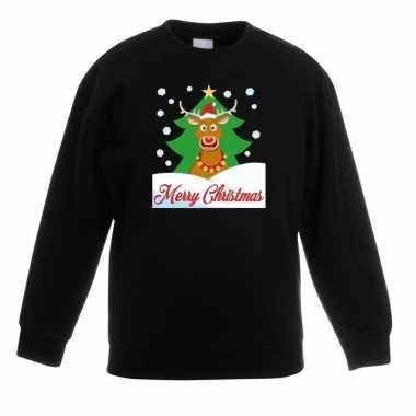 Goedkope kersttrui rudolf voor kerstboom zwart voor jongens en meisje