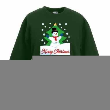 Goedkope kersttrui sneeuwman voor kerstboom groen voor jongens en mei