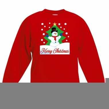Goedkope kersttrui sneeuwman voor kerstboom rood voor jongens en meis