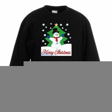 Goedkope kersttrui sneeuwman voor kerstboom zwart voor jongens en mei