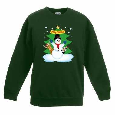 Goedkope kersttrui sneeuwpop en vrienden voor kerstboom groen voor jo