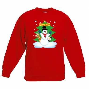 Goedkope kersttrui sneeuwpop en vrienden voor kerstboom rood voor jon