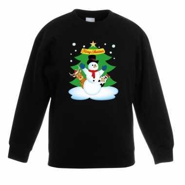 Goedkope kersttrui sneeuwpop en vrienden voor kerstboom zwart voor jo