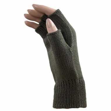 Goedkope khaki groene handschoenen zonder vingers voor volwassenen