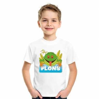 Goedkope kikker dieren t shirt wit voor kinderen