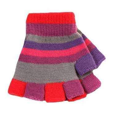 Goedkope kinder handschoenen met gekleurde streepjes zonder vingers