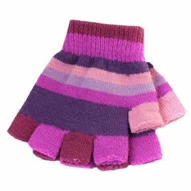 Goedkope kinder handschoenen met paarse streepjes zonder vingers