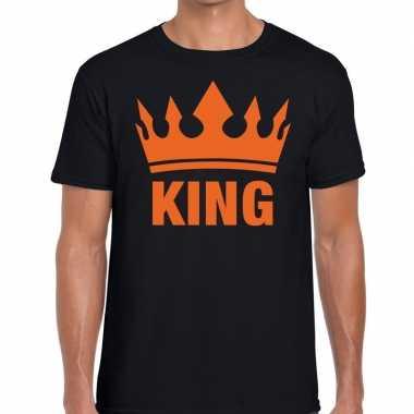 Goedkope king en kroon t shirt zwart heren