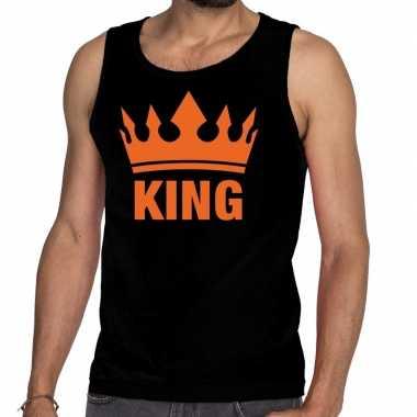 Goedkope king en kroon tanktop / mouwloos shirt zwart heren