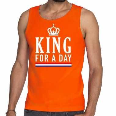 Goedkope king for a day tanktop / mouwloos shirt oranje heren