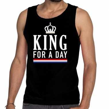 Goedkope king for a day tanktop / mouwloos shirt zwart heren