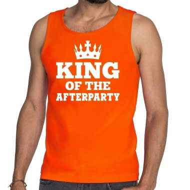 Goedkope king of the afterparty mouwloos shirt / tanktop oranje heren