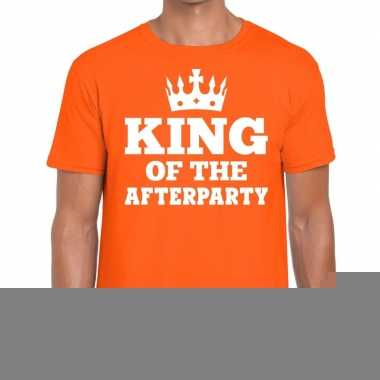 Goedkope king of the afterparty shirt oranje met kroontje heren