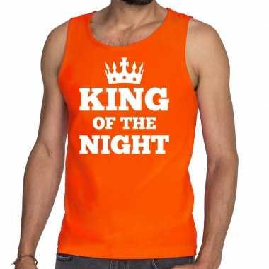 Goedkope king of the night mouwloos shirt / tanktop oranje heren