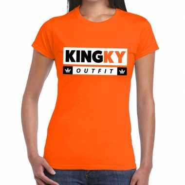 Goedkope kingky outfit t shirt oranje dames
