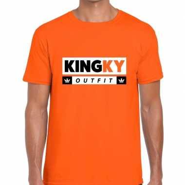 Goedkope kingky outfit t shirt oranje heren