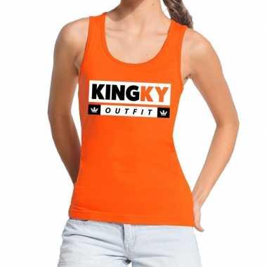Goedkope kingky outfit tanktop / mouwloos shirt oranje dames