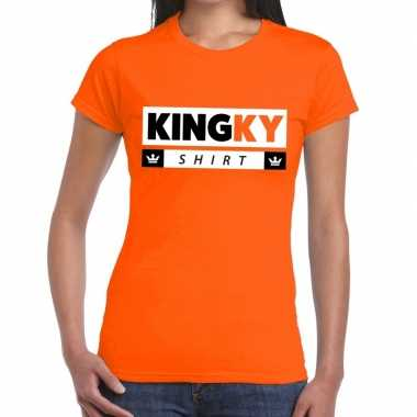 Goedkope kingky t shirt oranje dames