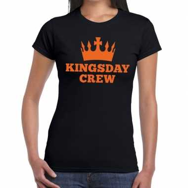 Goedkope kingsday crew t shirt zwart dames