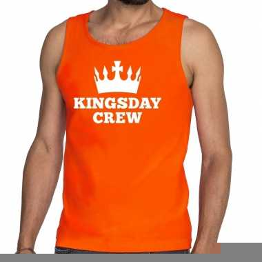 Goedkope kingsday crew tanktop / mouwloos shirt oranje heren