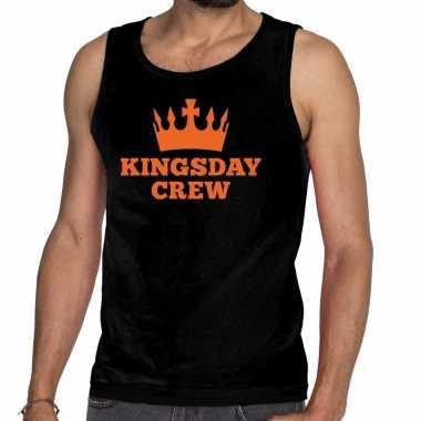 Goedkope kingsday crew tanktop / mouwloos shirt zwart heren