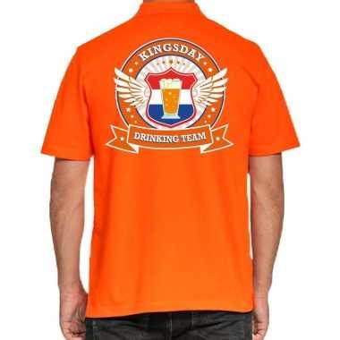 Goedkope kingsday drinking team polo t shirt oranje met kroon voor he