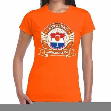 Goedkope kingsday drinking team t shirt oranje dames
