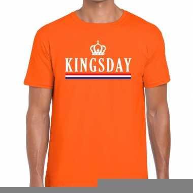 Goedkope kingsday hollandse vlag t shirt oranje heren