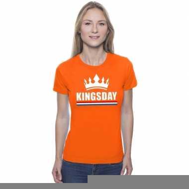 Goedkope kingsday met een kroon shirt oranje dames