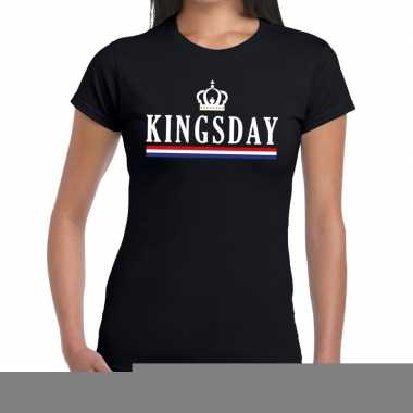 Goedkope kingsday met hollandse vlag en kroontje t shirt zwart dames