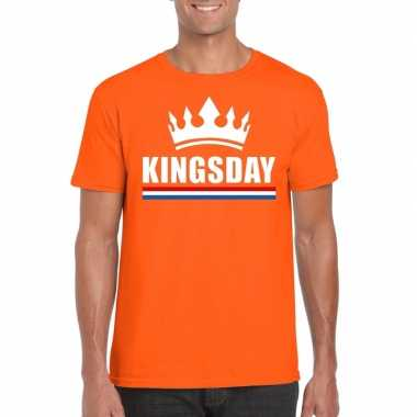Goedkope kingsday met kroon shirt oranje heren