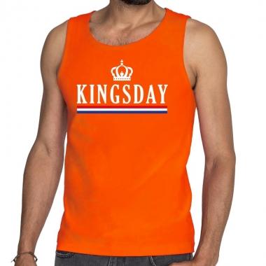 Goedkope kingsday met vlag en kroon tanktop / mouwloos shirt oranje h